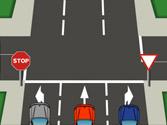 En esta intersección, ¿qué señal debe obedecer el vehículo azul para girar a la derecha? 1