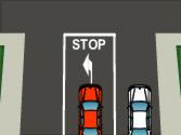 ¿Debe el conductor del turismo de color blanco respetar la señal de stop cuando llegue al cruce? 1