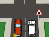 En esta vía de doble sentido, el vehículo rojo, ¿adelanta correctamente? 1