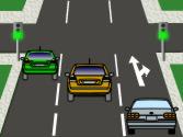 Conduce el vehículo gris, ¿cómo debe actuar, atendiendo a las marcas viales? 1