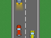 El vehículo amarillo disminuye la velocidad porque el adelantamiento que está haciendo el vehículo rojo es peligroso, ¿es correcto? 1