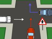 El vehículo rojo, ¿está obligado a ceder el paso en la intersección? 1
