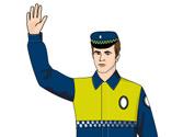 Un agente con el brazo levantado verticalmente obliga a los vehículos que se aproximan de frente a ... 1