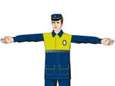 Este agente con los brazos extendidos obliga a detenerse... 1