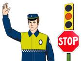 Si la luz del semáforo pasa a verde y el agente mantiene el brazo en alto, ¿puede pasar? 1