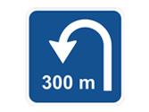 Esta señal informa de la distancia a un tramo en el que se puede efectuar un cambio de sentido... 1